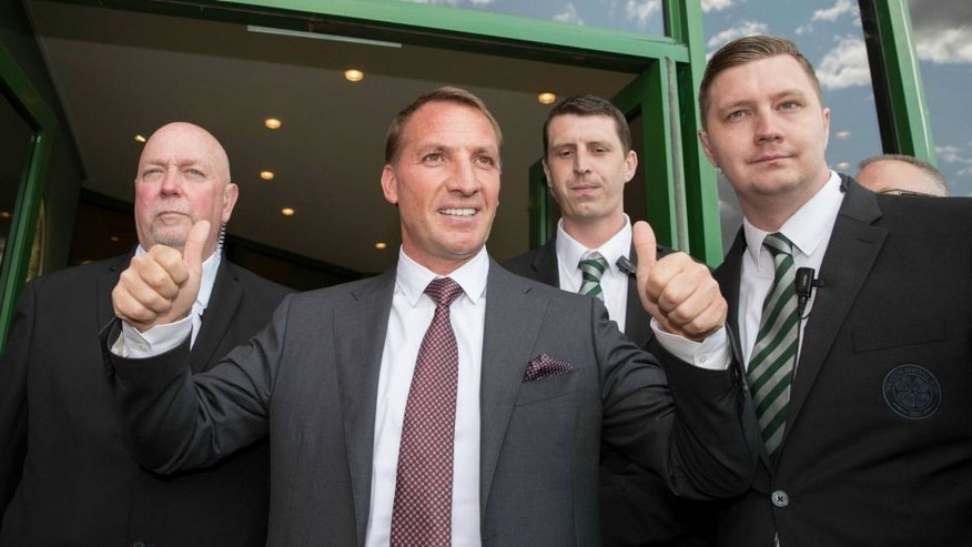 GLASGOW, SCOTLAND - MAY 23: Celtic Football Club unveil their new manager Brendan Rodgers at Celtic Park Glasgow on May 23, 2016 in Glasgow, Scotland. (Photo by Steve Welsh/Getty Images)