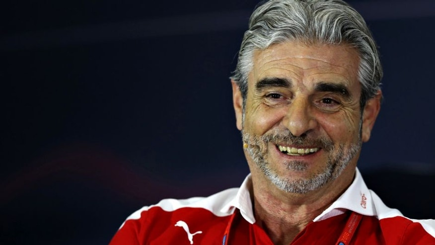 NORTHAMPTON, ENGLAND - JULY 08: Ferrari Team Principal Maurizio Arrivabene in the Team Principals Press Conference during practice for the Formula One Grand Prix of Great Britain at Silverstone on July 8, 2016 in Northampton, England. (Photo by Mark Thompson/Getty Images)