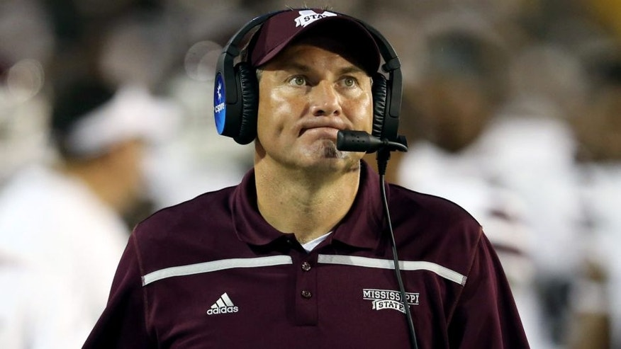 Sep 5, 2015; Hattiesburg, MS, USA; Mississippi State Bulldogs head coach Dan Mullen on the sidelines in the second half of their game against the Southern Miss Golden Eagles at M.M. Roberts Stadium. Mississippi State won, 34-16. Mandatory Credit: Chuck Cook-USA TODAY Sports