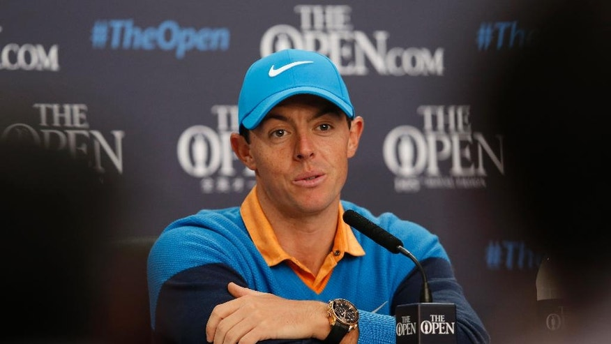 Rory McIlroy of Northern Ireland speaks at a press conference for the British Open Golf Championships at the Royal Troon Golf Club in Troon, Scotland, Tuesday, July 12, 2016. (AP Photo/Alastair Grant)