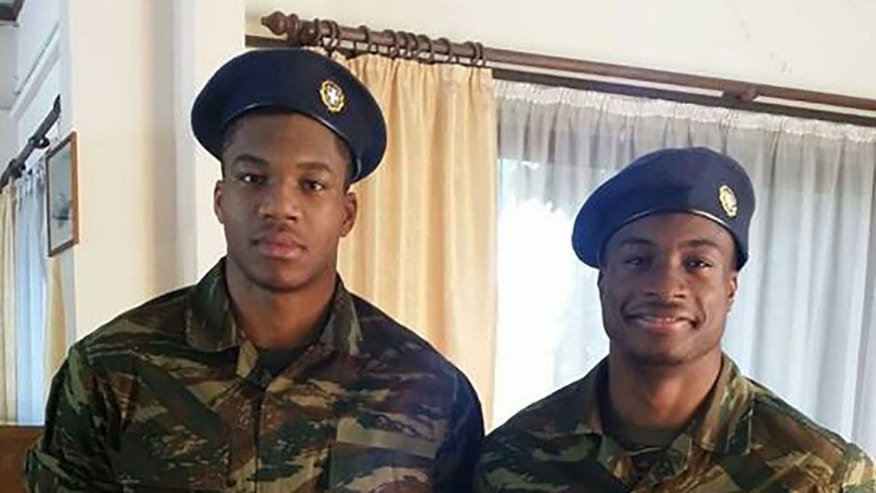 Milwaukee Bucks star Giannis Antetokounmpo and older brother Thanasis presented themselves for compulsive military service in Greece.