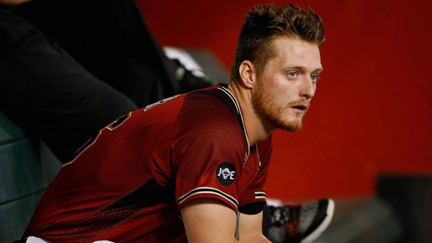 <p>PHOENIX, AZ - APRIL 10: Starting pitcher Shelby Miller #26 of the Arizona Diamondbacks reacts in the dugout during the first inning of the MLB game against the Chicago Cubs at Chase Field on April 10, 2016 in Phoenix, Arizona. (Photo by Christian Petersen/Getty Images)</p>