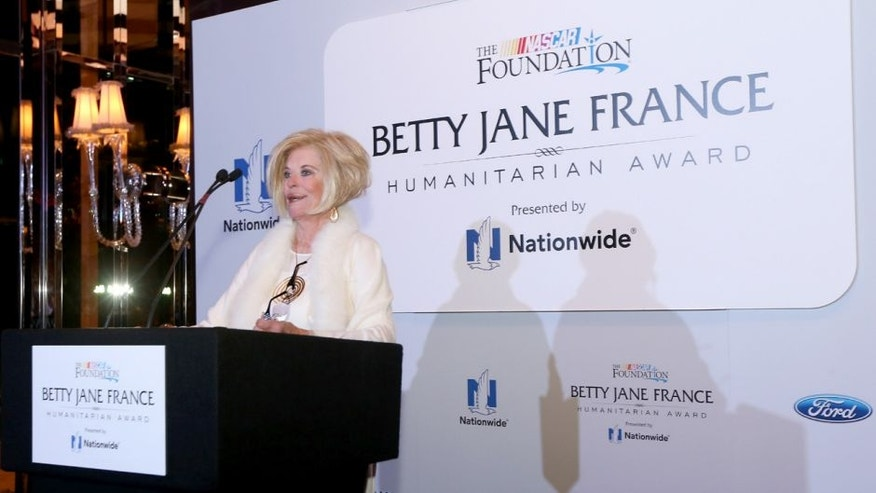 LAS VEGAS, NV - DECEMBER 02: Betty Jane France speaks during the Betty Jane France Humanitarian Award Reception inside Wynn Las Vegas during NASCAR Champion's Week on December 2, 2015 in Las Vegas, Nevada. (Photo by Sarah Crabill/NASCAR via Getty Images)