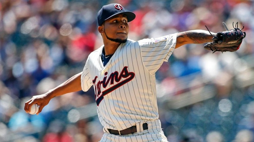 Jul 6, 2016; Minneapolis, MN, USA; Minnesota Twins starting pitcher Ervin Santana (54) pitches to the Oakland Athletics in the first inning at Target Field. Mandatory Credit: Bruce Kluckhohn-USA TODAY Sports