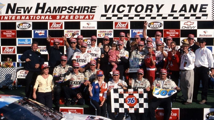 LOUDON, NH - SEPTEMBER 17, 2000: Jeff Burton celebrates in victory lane after winning the Dura Lube 300 Sponsored by Kmart NASCAR Cup race at New Hampshire Motor Speedway. (Photo by ISC Images & Archives via Getty Images)