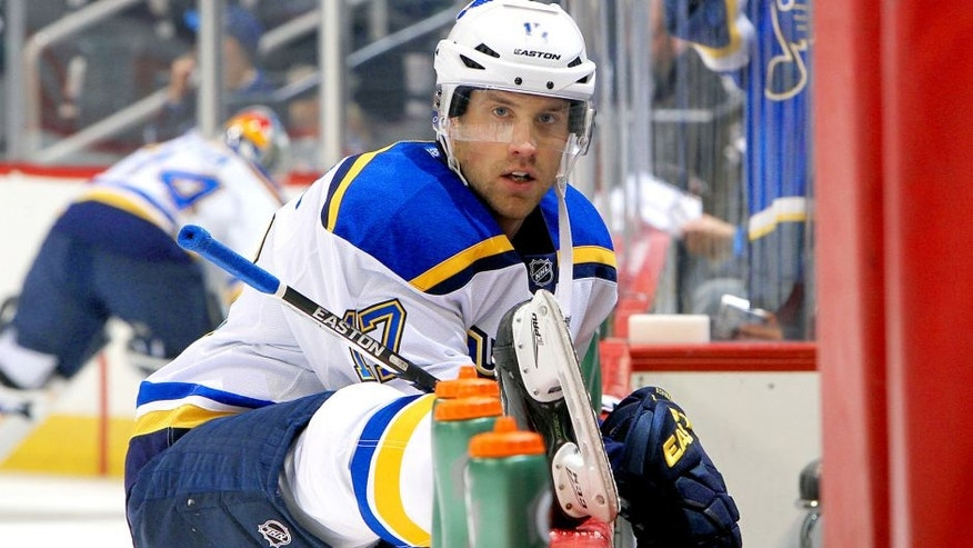 WINNIPEG, MB - OCTOBER 18: Jaden Schwartz #17 of the St. Louis Blues stretches at the bench during the pre-game warm up prior to NHL action against the Winnipeg Jets at the MTS Centre on October 18, 2015 in Winnipeg, Manitoba, Canada. (Photo by Jonathan Kozub/NHLI via Getty Images)