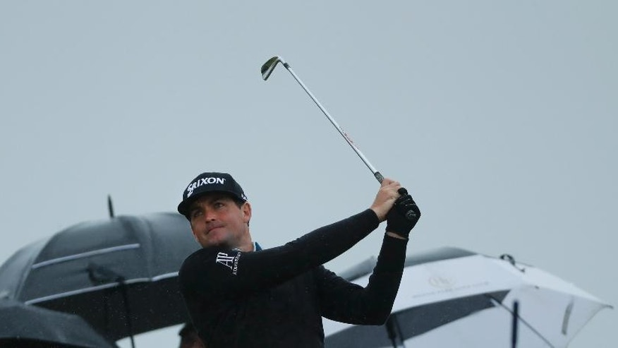 Keegan Bradley of the US plays his tee shot at the 10th during the second round of the British Open Golf Championship at the Royal Troon Golf Club in Troon, Scotland, Friday, July 15, 2016. (AP Photo/Ben Curtis)