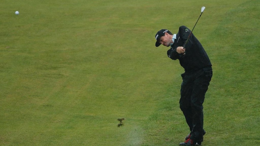 Keegan Bradley of the US plays his shot from the 10th fairway during the second round of the British Open Golf Championship at the Royal Troon Golf Club in Troon, Scotland, Friday, July 15, 2016. (AP Photo/Ben Curtis)