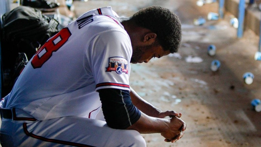 Jun 28, 2016; Atlanta, GA, USA; Atlanta Braves relief pitcher Arodys Vizcaino (38) on the bench after being removed from a game against the Cleveland Indians in the ninth inning at Turner Field. The Indians defeated the Braves 5-3. Mandatory Credit: Brett Davis-USA TODAY Sports
