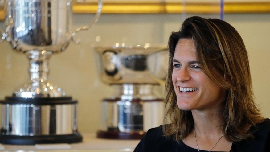 Amelie Mauresmo, of France, speaks during an interview at the International Tennis Hall of Fame, Saturday, July 16, 2016, in Newport, R.I. prior to her induction ceremony. (AP Photo/Elise Amendola)