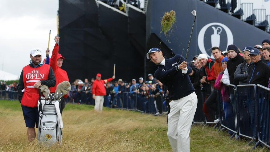Martin Kaymer of Germany plays out of the rough on the 1st hole during the final round of the British Open Golf Championship at the Royal Troon Golf Club in Troon, Scotland, Sunday, July 17, 2016. (AP Photo/Matt Dunham)
