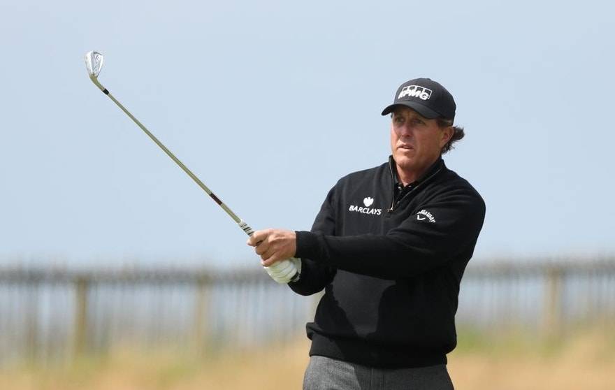Phil Mickelson of the United States play a shot from the1st fairway during the final round of the British Open Golf Championship at the Royal Troon Golf Club in Troon, Scotland, Sunday, July 17, 2016. (AP Photo/Peter Morrison)