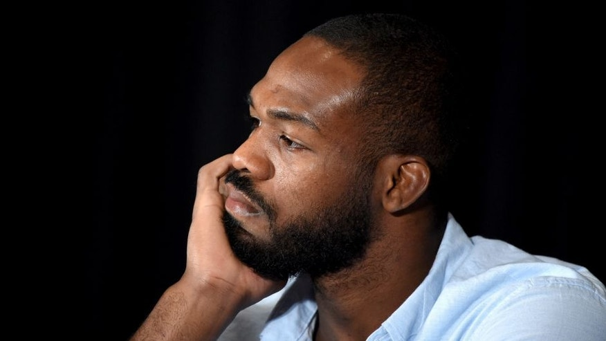 LAS VEGAS, NV - JULY 07: Mixed martial artist Jon Jones takes questions during a news conference at MGM Grand Hotel & Casino to address being pulled from his light heavyweight title fight at UFC 200 against Daniel Cormier due to a potential violation of the UFC's anti-doping policy on July 7, 2016 in Las Vegas, Nevada. (Photo by Ethan Miller/Getty Images)