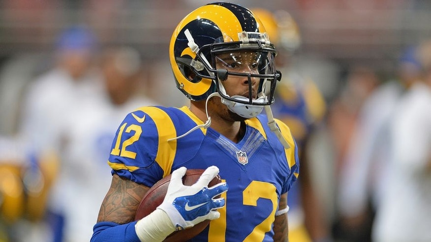 ST. LOUIS, MO - DECEMBER 21: Stedman Bailey #12 of the St. Louis Rams prior to a game against the New York Giants at the Edward Jones Dome on December 21, 2014 in St. Louis, Missouri. (Photo by Michael Thomas/Getty Images)