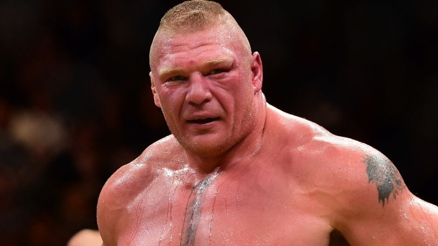 LAS VEGAS, NV - JULY 09: Brock Lesnar reacts after his victory over Mark Hunt of New Zealand in their heavyweight bout during the UFC 200 event on July 9, 2016 at T-Mobile Arena in Las Vegas, Nevada. (Photo by Harry How/Zuffa LLC/Zuffa LLC via Getty Images)