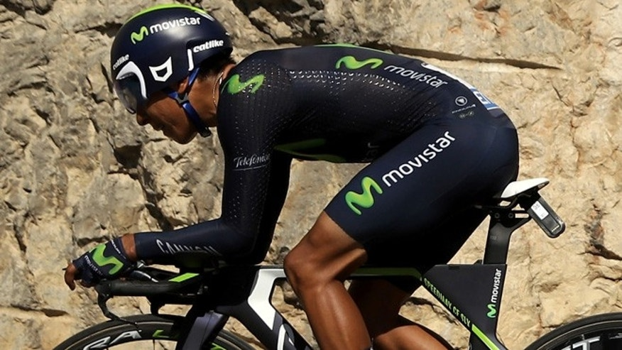 Nairo Alexander Quintana of Colombia riding for Movistar Team rides during the stage thirteen individual time trial, a 37.5km stage from Bourg-Saint-Andéol to La Caverne du Pont-d'Arc on July 15, 2016 in Bourg-Saint-Andeol, France.
