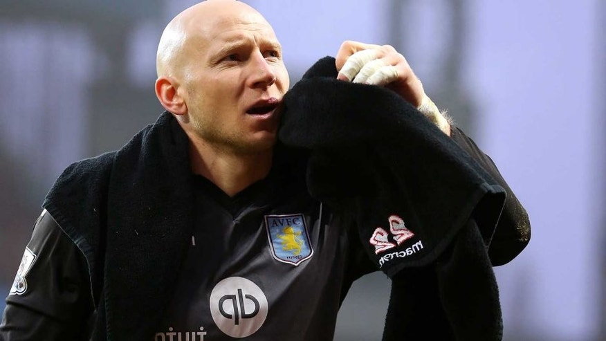 BIRMINGHAM, ENGLAND - DECEMBER 13: Brad Guzan of Aston Villa during the Barclays Premier League match between Aston Villa and Arsenal at Villa Park on December 13, 2015 in Birmingham, England. (Photo by James Baylis - AMA/Getty Images)