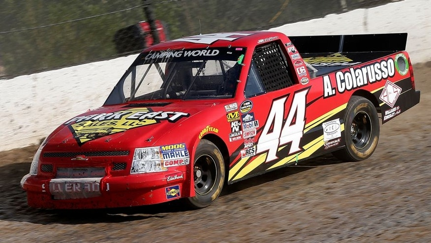 ROSSBURG, OH - JULY 19: JR Heffner, driver of the #44 Park Estate Sales/A. Colarusso Chevrolet, drives during practice for the 4th Annual Aspen Dental Eldora Dirt Derby at Eldora Speedway on July 19, 2016 in Rossburg, Ohio. (Photo by Brian Lawdermilk/Getty Images)