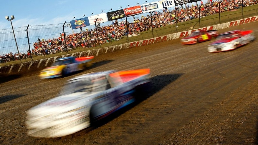 ROSSBURG, OH - JULY 20: A general view of racing during qualifying races for the NASCAR Camping World Series 4th Annual Aspen Dental Eldora Dirt Derby150 at Eldora Speedway on July 20, 2016 in Rossburg, Ohio. (Photo by Brian Lawdermilk/Getty Images)