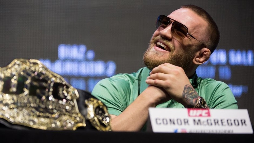 LAS VEGAS, NV - JULY 07: Conor McGregor speaks to the media during the UFC 202 - Press Conference at TMobile Arena on July 7, 2016 in Las Vegas, Nevada. (Photo by Brandon Magnus/Zuffa LLC/Zuffa LLC via Getty Images)