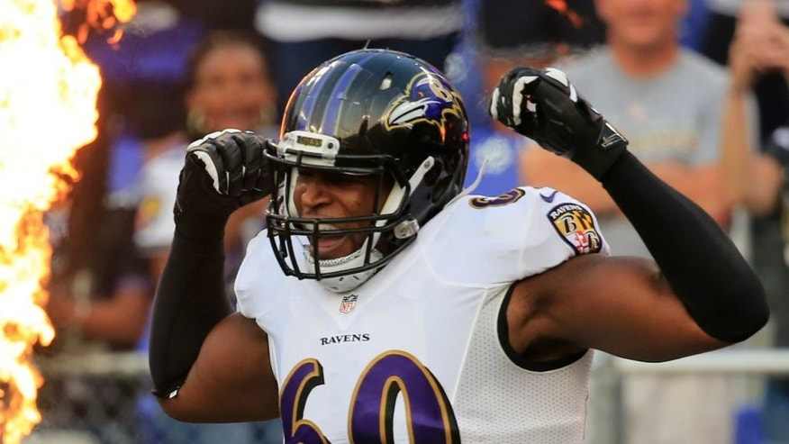 during the first half of an NFL pre-season game at M&T Bank Stadium on August 7, 2014 in Baltimore, Maryland.,BALTIMORE, MD - AUGUST 07: Tackle Eugene Monroe #60 of the Baltimore Ravens is introduced before the start of an NFL pre-season game against the San Francisco 49ers at M&T Bank Stadium on August 7, 2014 in Baltimore, Maryland. (Photo by Rob Carr/Getty Images)
