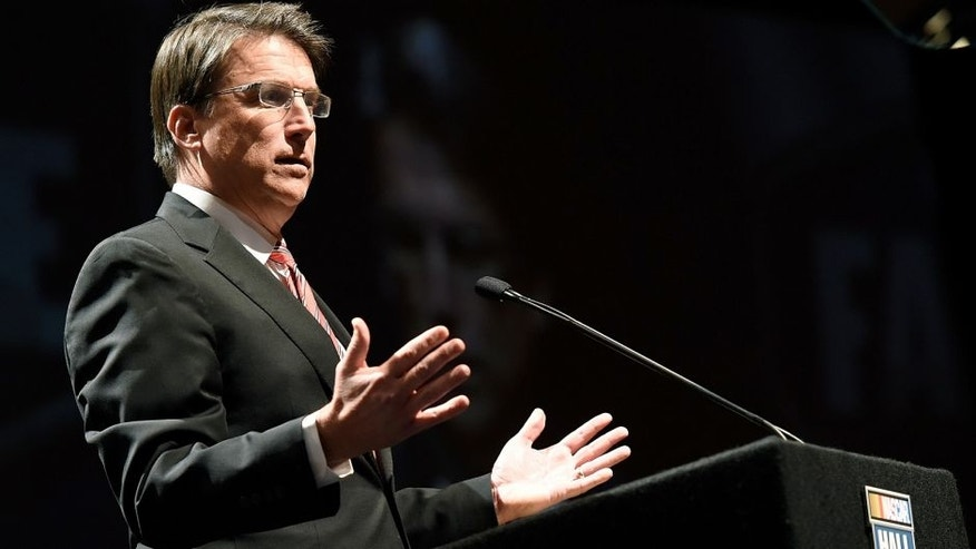 CHARLOTTE, NC - JANUARY 30: North Carolina Governor Pat McCrory speaks during the 2015 NASCAR Hall of Fame Induction Ceremony at NASCAR Hall of Fame on January 30, 2015 in Charlotte, North Carolina. (Photo by Jared C. Tilton/NASCAR via Getty Images)