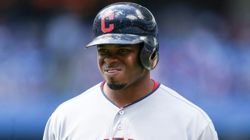 Jul 3, 2016; Toronto, Ontario, CAN; Cleveland Indians center fielder Rajai Davis (20) reacts after flying out in the fifth inning against the Toronto Blue Jays at Rogers Centre. The Blue Jays won 17-1. Mandatory Credit: Kevin Sousa-USA TODAY Sports