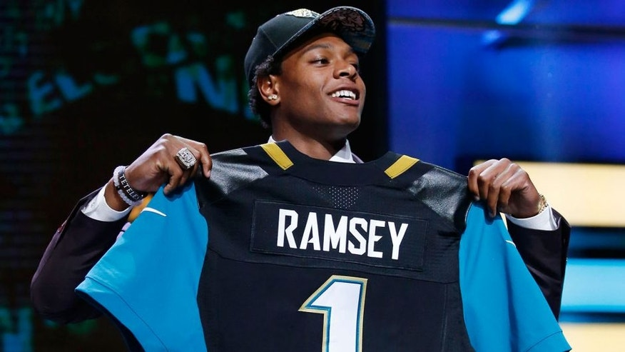 Apr 28, 2016; Chicago, IL, USA; Jalen Ramsey (Florida State) is selected by the Jacksonville Jaguars as the number five overall pick in the first round of the 2016 NFL Draft at Auditorium Theatre. Mandatory Credit: Kamil Krzaczynski-USA TODAY Sports