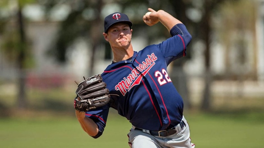 FORT MYERS, FL- MARCH 15: Stephen Gonsalves of the Minnesota Twins pitches during minor league spring training on March 15, 2015 at the CenturyLink Sports Complex in Fort Myers, Florida.