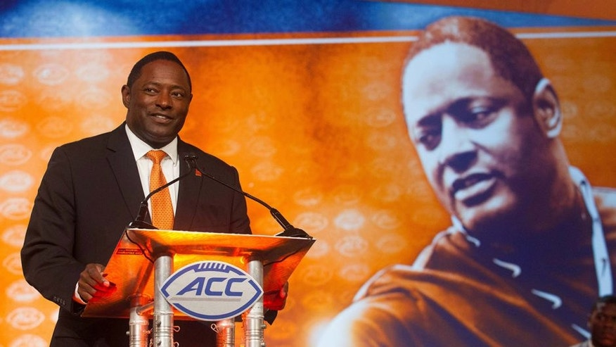 Jul 22, 2016; Charlotte, NC, USA; Syracuse Orange head coach Dino Babers speaks with the media during the ACC Football Kickoff at Westin Charlotte. Mandatory Credit: Jeremy Brevard-USA TODAY Sports