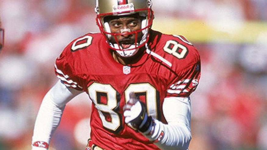 17 Dec 2000: Jerry Rice #80 of the San Francisco 49ers races during the game against the Chicago Bears at the 3Com Park in San Francisco, California. The 49ers defeated the Bears 17-0.Mandatory Credit: Jed Jacobsohn /Allsport