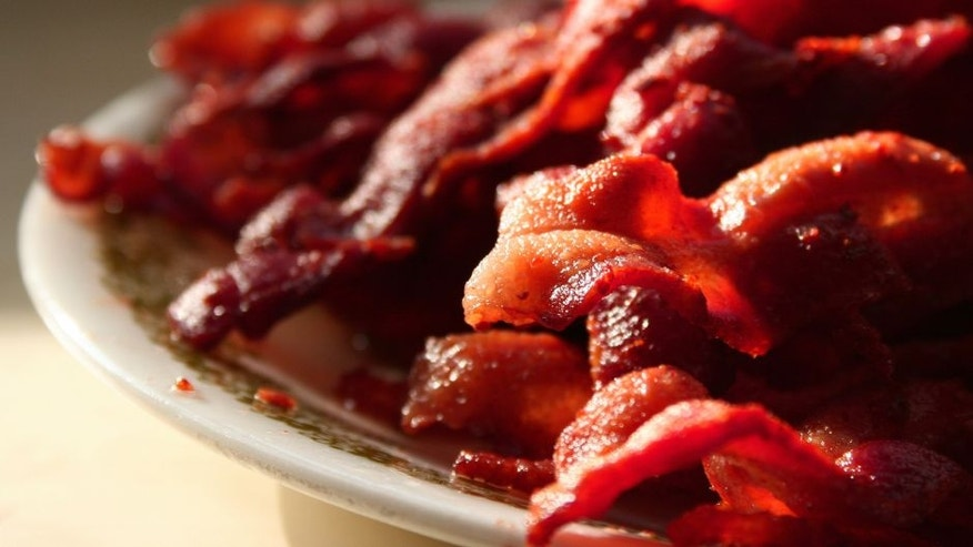 Plate Piled High With Fried Bacon