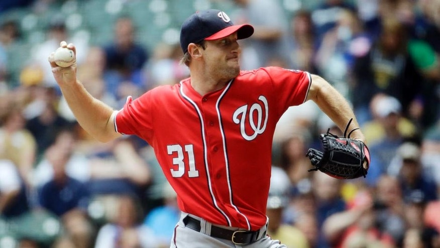 Washington Nationals starting pitcher Max Scherzer throws during the first inning against the Milwaukee Brewers, Sunday, June 14, 2015, in Milwaukee.