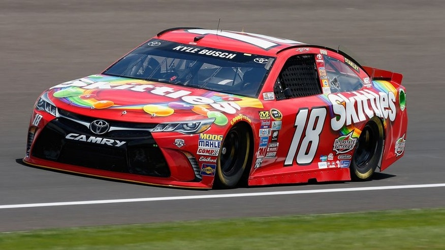 INDIANAPOLIS, IN - JULY 22: Kyle Busch, driver of the #18 Skittles Toyota, practices for the NASCAR Sprint Cup Series Crown Royal presents the Combat Wounded Coalition 400 at the Brickyard at Indianapolis Motor Speedway on July 23, 2016 in Indianapolis, Indiana. (Photo by Brian Lawdermilk/Getty Images)