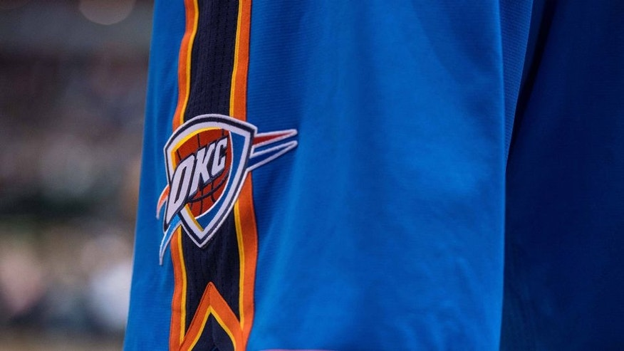 Dec 28, 2014; Dallas, TX, USA; A view of Oklahoma City Thunder logo on the shorts of guard Russell Westbrook (0) during the game against the Dallas Mavericks at the American Airlines Center. The Mavericks defeated the Thunder 112-107. Mandatory Credit: Jerome Miron-USA TODAY Sports
