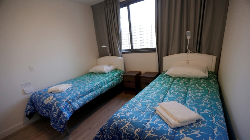 Beds are seen inside a room at the Athletes Village in Rio de Janeiro.