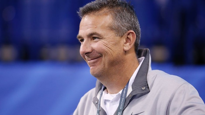 INDIANAPOLIS, IN - FEBRUARY 27: Ohio State football coach Urban Meyer attends the 2016 NFL Scouting Combine at Lucas Oil Stadium on February 27, 2016 in Indianapolis, Indiana. (Photo by Joe Robbins/Getty Images)