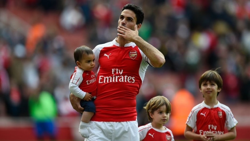 during the Barclays Premier League match between Arsenal and Aston Villa at Emirates Stadium on May 15, 2016 in London, England.