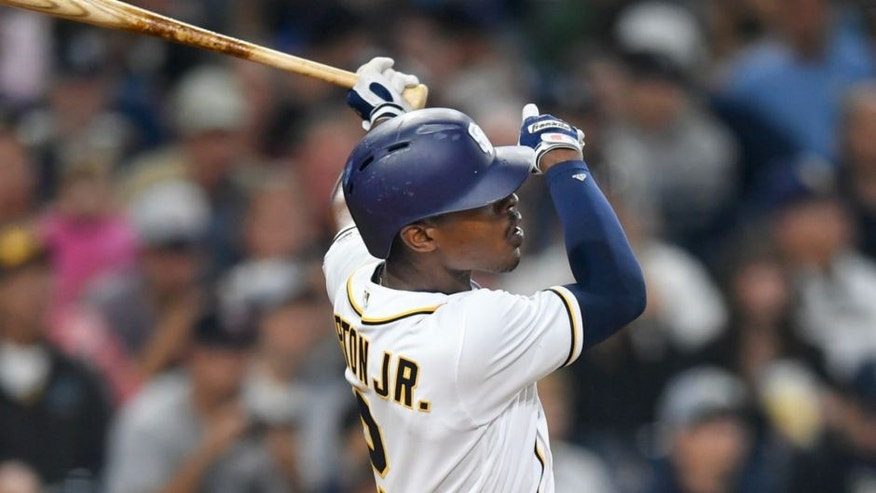 SAN DIEGO, CA - JULY 2: Melvin Upton Jr. #2 of the San Diego Padres hits a walk off home run in the ninth inning during a baseball game against the New York Yankees at PETCO Park on July 2, 2016 in San Diego, California. (Photo by Andy Hayt/San Diego Padres/Getty Images)