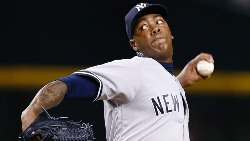 New York Yankees' Aroldis Chapman in a May 18, 2016 file photo.