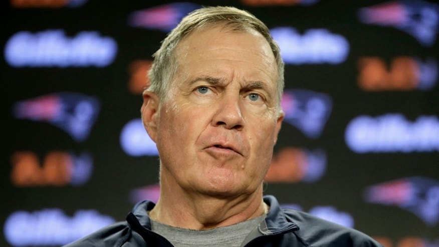 New England Patriots head coach Bill Belichick faces reporters during a news conference at Gillette Stadium, Wednesday, July 27, 2016, in Foxborough, Mass. The Patriots' NFL football training camp is to begin Thursday, July 28. (AP Photo/Steven Senne)