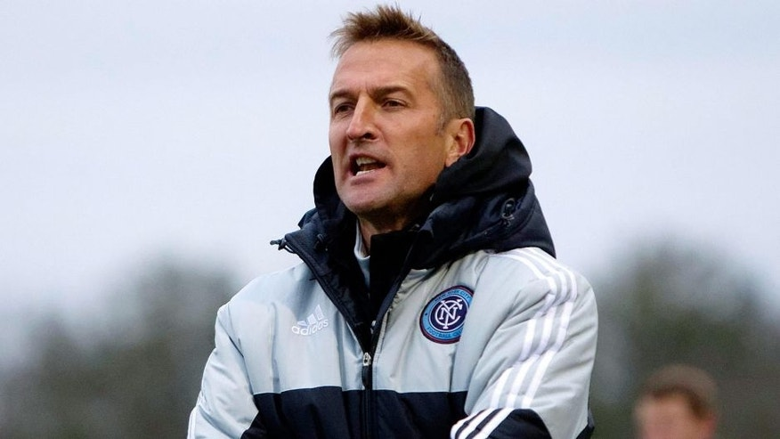 Feb 25, 2015; Charleston, SC, USA; New York City FC head coach Jason Kreis reacts during the first half against the Houston Dynamo at Blackbaud Stadium. Mandatory Credit: Joshua S. Kelly-USA TODAY Sports