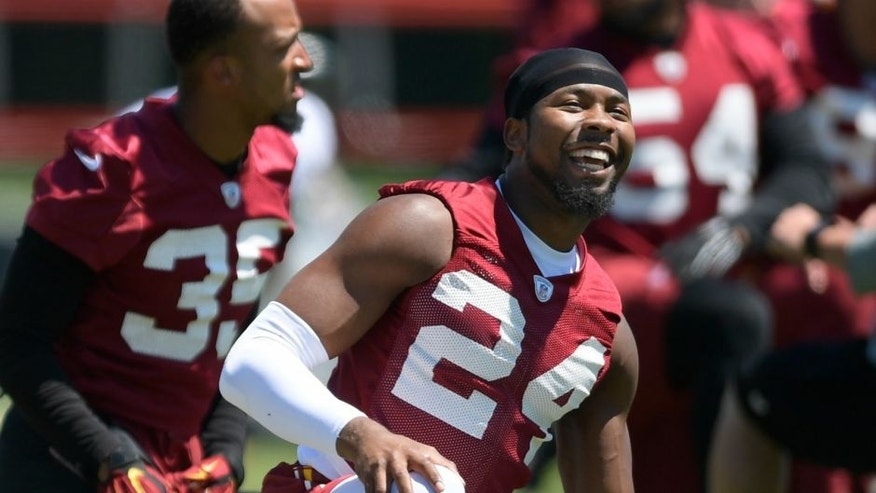 ASHBURN VA, JUNE 8: Corner back Josh Norman during the Washington Redskins' OTA in Ashburn VA, June 8, 2016. (Photo by John McDonnell / The Washington Post via Getty Images)