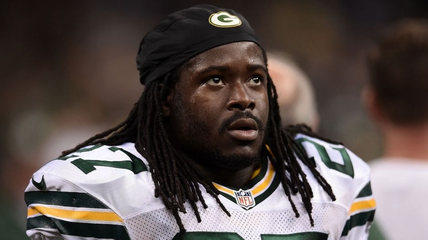 NEW ORLEANS, LA - OCTOBER 26: Eddie Lacy #27 of the Green Bay Packers looks on during the second quarter against the New Orleans Saints at Mercedes-Benz Superdome on October 26, 2014 in New Orleans, Louisiana. (Photo by Stacy Revere/Getty Images)