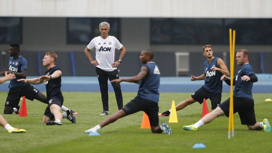 BEIJING, CHINA - JULY 24: Manager Jose Mourinho of Manchester United looks on during the team training session for the 2016 International Champions Cup match between Manchester City and Manchester United at Olympic Sports Center Stadium on July 24, 2016 in Beijing, China. (Photo by Lintao Zhang/Getty Images)