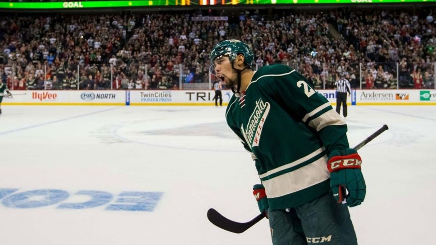 <p>Sunday, March 6: Minnesota Wild defenseman Matt Dumba celebrates his goal in the third period against the St. Louis Blues at Xcel Energy Center in St. Paul, Minn.</p>