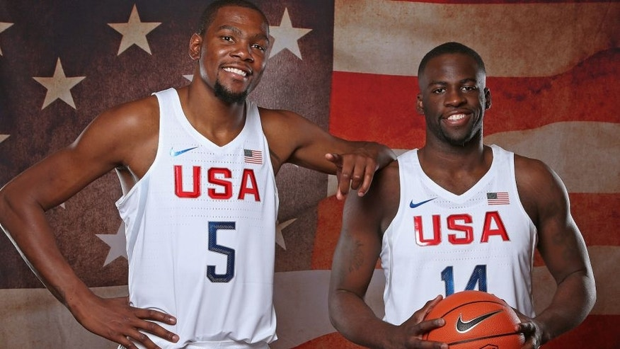 LAS VEGAS, NV - JULY 18: Kevin Durant #5 and Draymond Green #14 of the USA Basketball Men's National Team pose for a portrait on July 18, 2016 at the Wynn Las Vegas in Las Vegas, NV. NOTE TO USER: User expressly acknowledges and agrees that, by downloading and or using this photograph, User is consenting to the terms and conditions of the Getty Images License Agreement. Mandatory Copyright Notice: Copyright 2016 NBAE (Photo by Nathaniel S. Butler/NBAE via Getty Images)