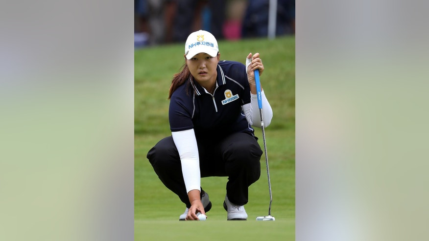 South Korea's Mirim Lee during the second round of the Women's British Open at Woburn Golf Club, in Woburn, England, Friday July 29, 2016. (Nick Potts/PA via AP)