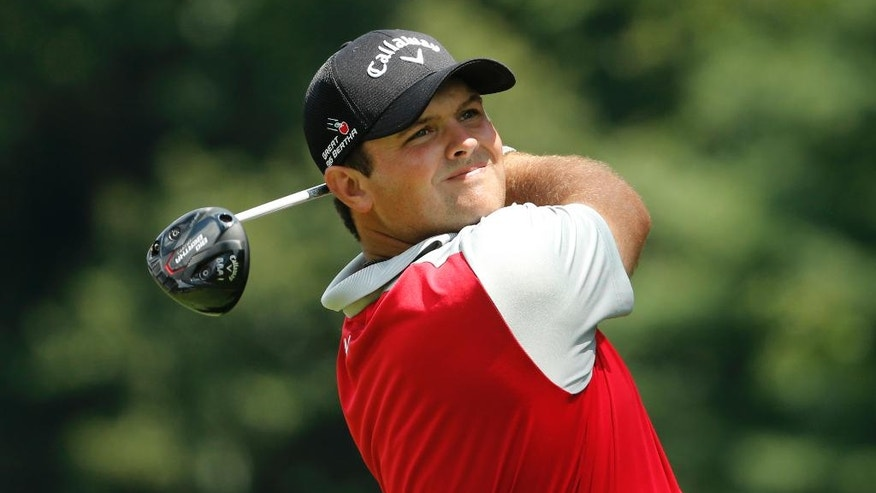 Patrick Reed watches his tee shot on the sixth hole during the second round of the PGA Championship golf tournament at Baltusrol Golf Club in Springfield, N.J., Friday, July 29, 2016. (AP Photo/Mike Groll)