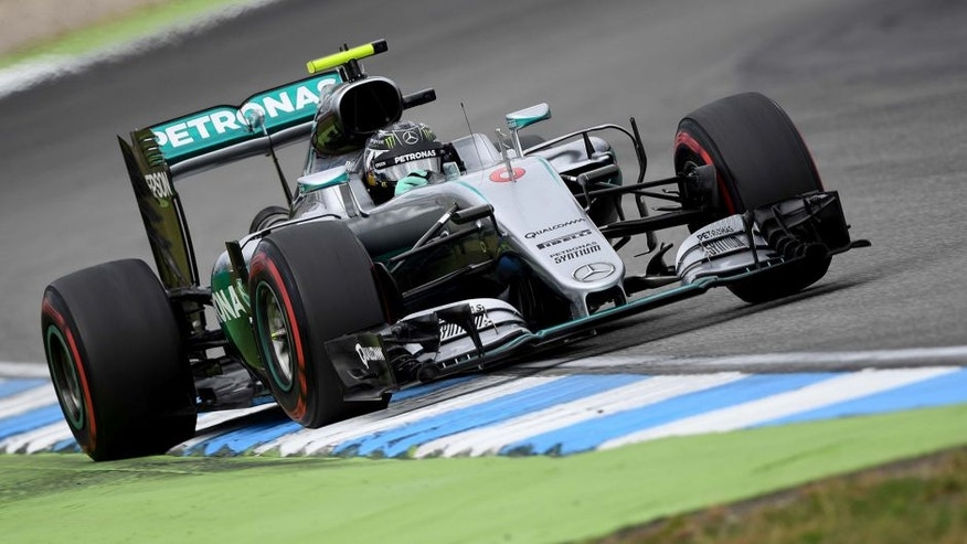 Mercedes AMG Petronas F1 Team's German driver Nico Rosberg drives on the track during the second practice session ahead of the Formula One Grand Prix of Germany at the Hockenheim circuit, southern Germany, on July 29, 2016. / AFP / PATRIK STOLLARZ (Photo credit should read PATRIK STOLLARZ/AFP/Getty Images)